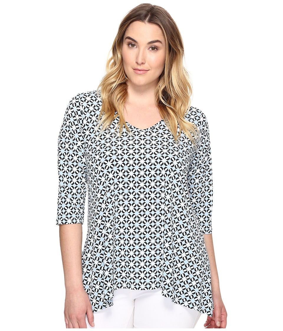 Karen Kane Plus - Plus Size 3/4 Sleeve Swing Top (Print) Women's Clothing