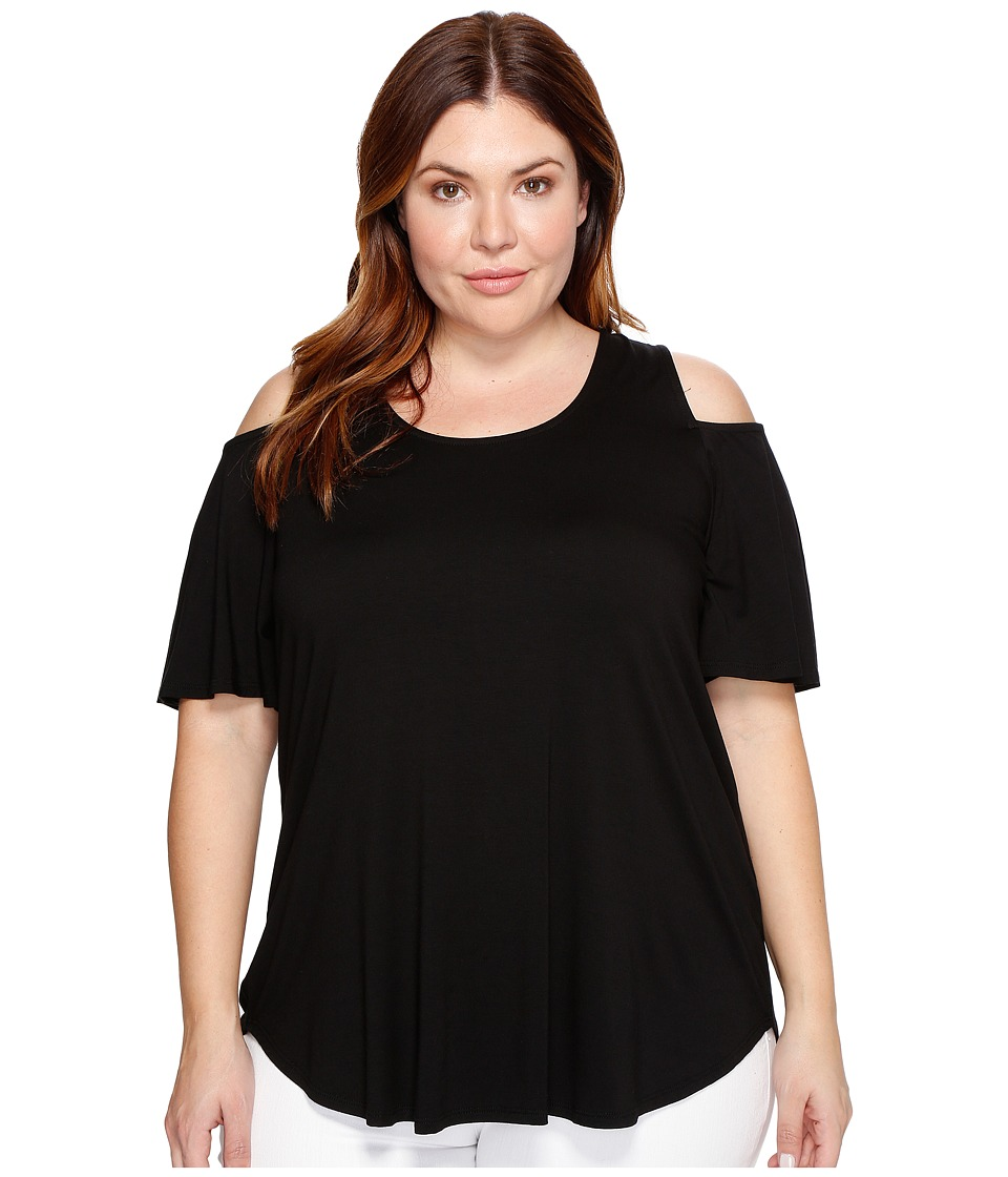 Karen Kane Plus - Plus Size Cold Shoulder Shirttail Top (Black) Women's Clothing