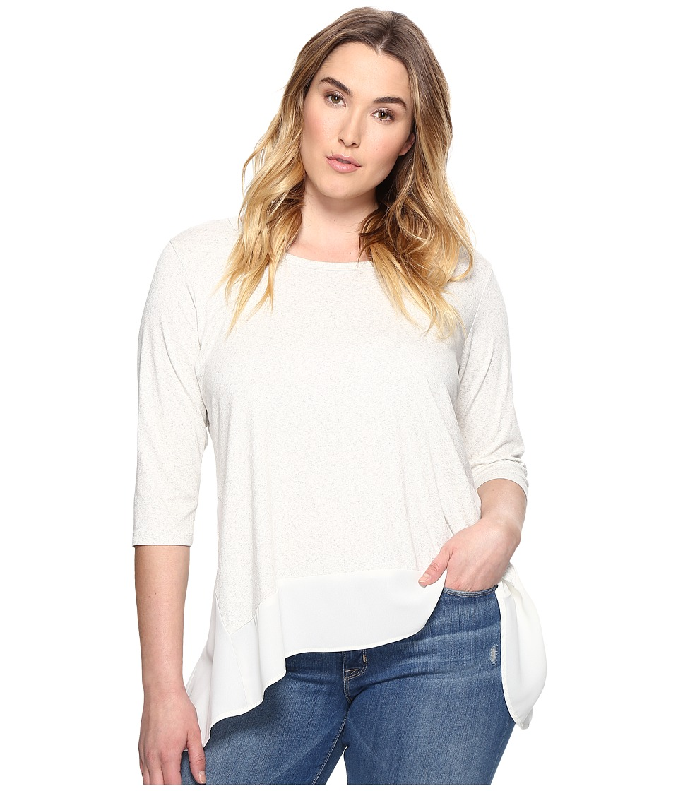 Karen Kane Plus - Plus Size Contrast High-Low Top (Cream) Women's Clothing