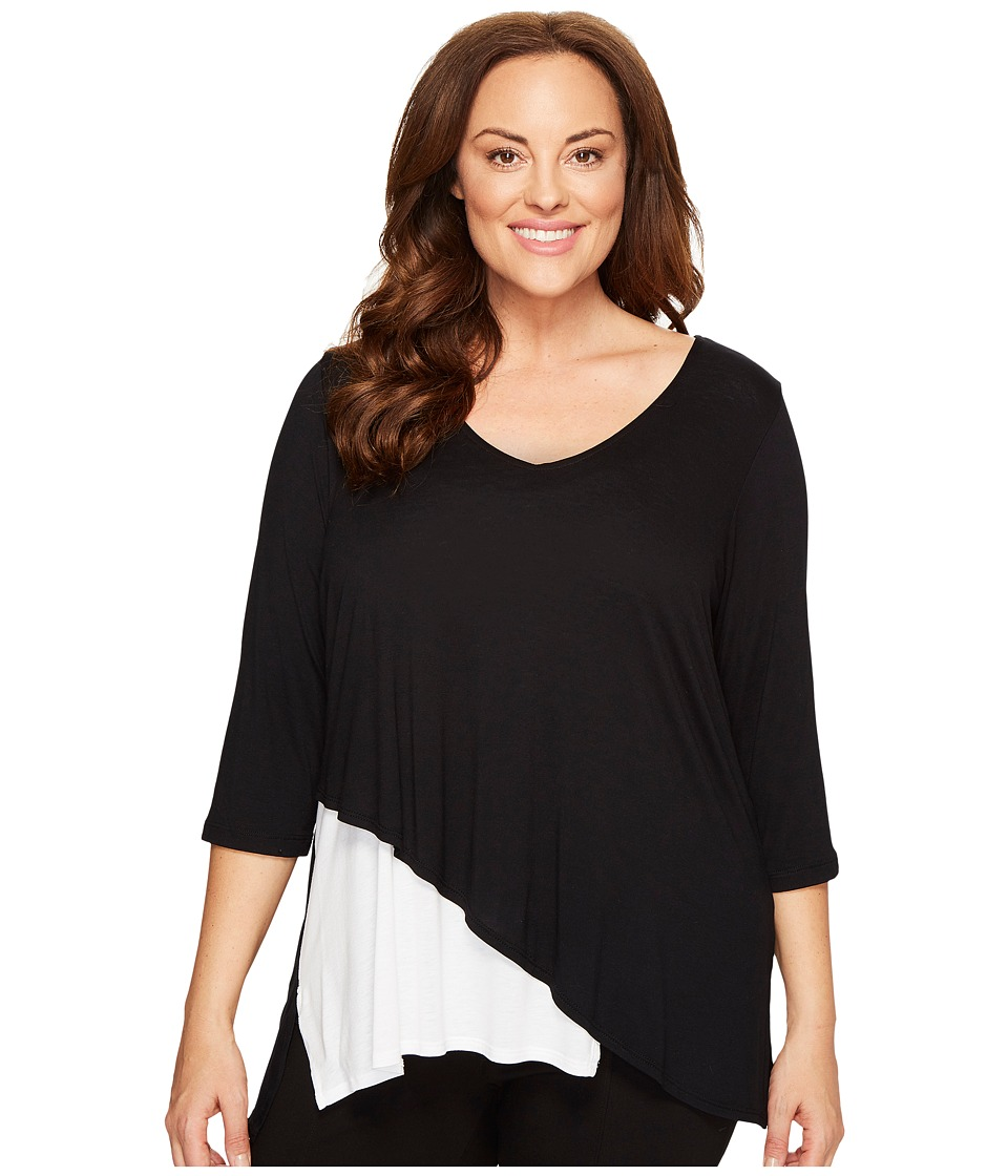 Karen Kane Plus - Plus Size Layered V-Neck Top (Black/White) Women's Clothing