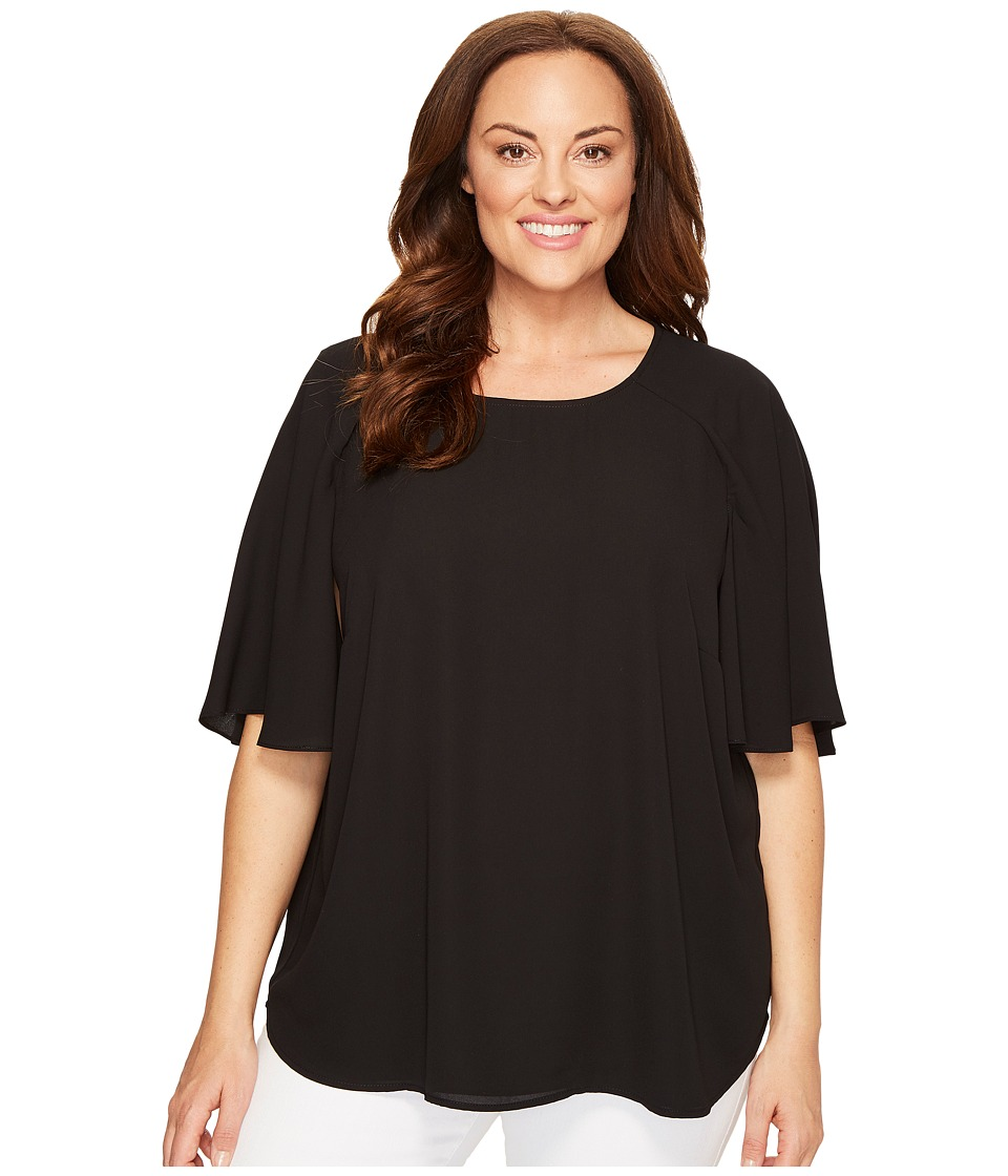 Karen Kane Plus - Plus Size Cape Sleeve Top (Black) Women's Clothing