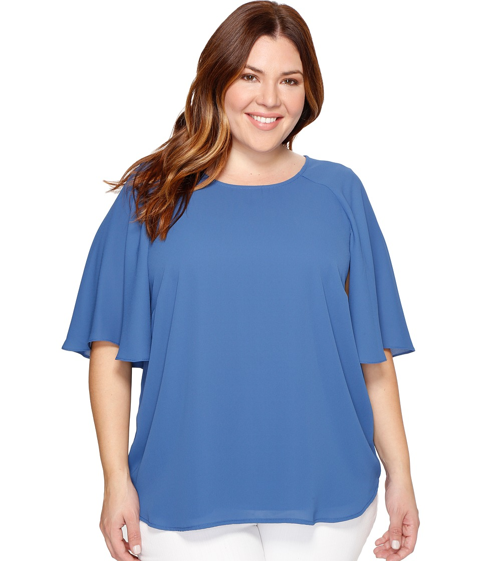 Karen Kane Plus - Plus Size Cape Sleeve Top (Indigo) Women's Clothing