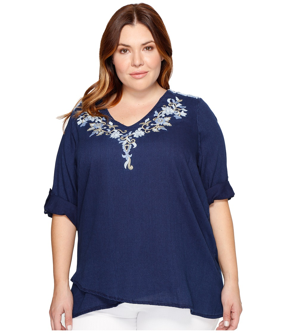 Karen Kane Plus - Plus Size Crossover Embroidered Top (Indigo) Women's Clothing