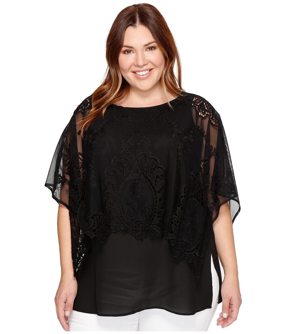 Karen Kane Plus - Plus Size Double Layer Top (Black) Women's Clothing