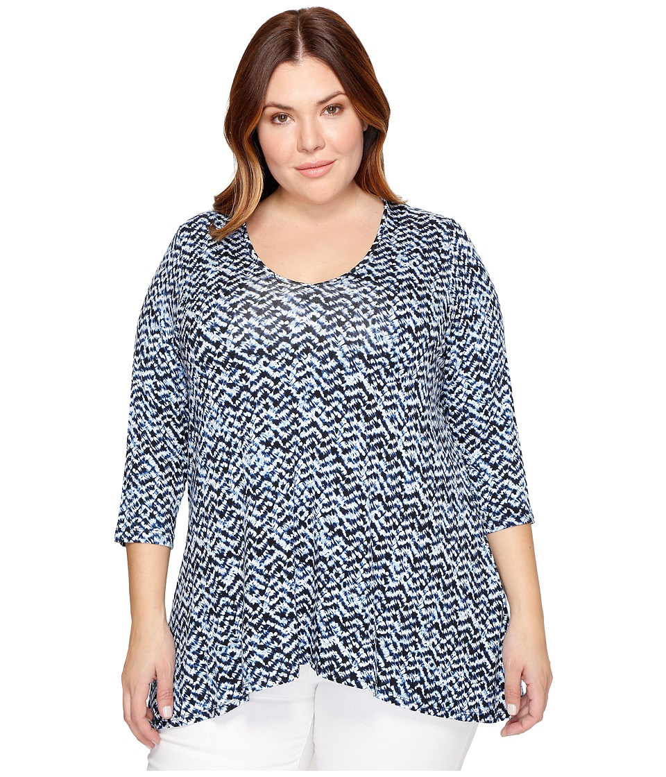 Karen Kane Plus - Plus Size 3/4 Sleeve Swing Top (Print) Women's Long Sleeve Pullover
