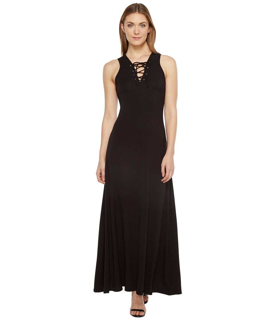 Karen Kane - Lace-Up Maxi Dress (Black) Women's Dress