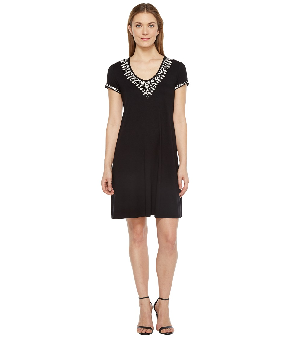 Karen Kane - Embroidered T-Shirt Dress (Black) Women's Dress