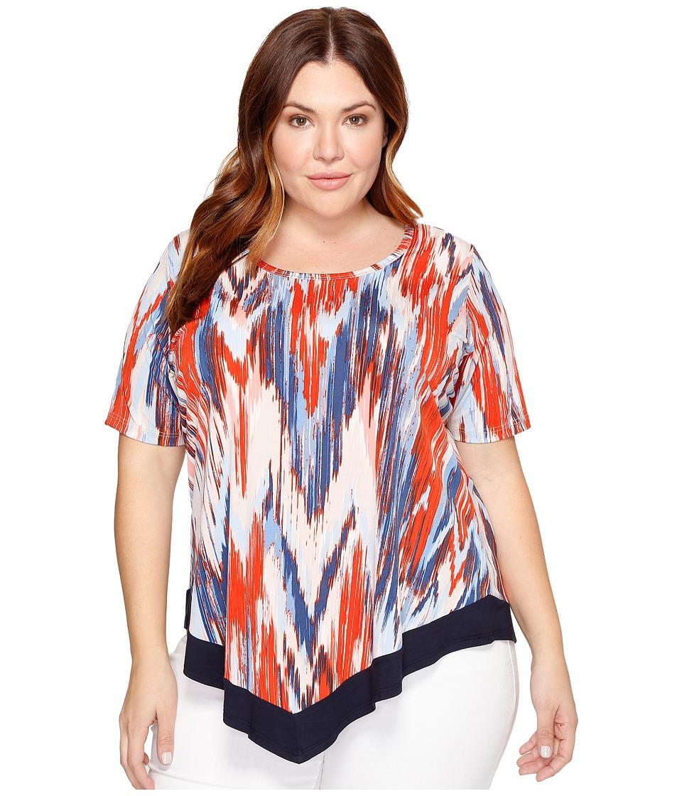 Karen Kane Plus - Plus Size Contrast Hem Top (Print) Women's Short Sleeve Pullover