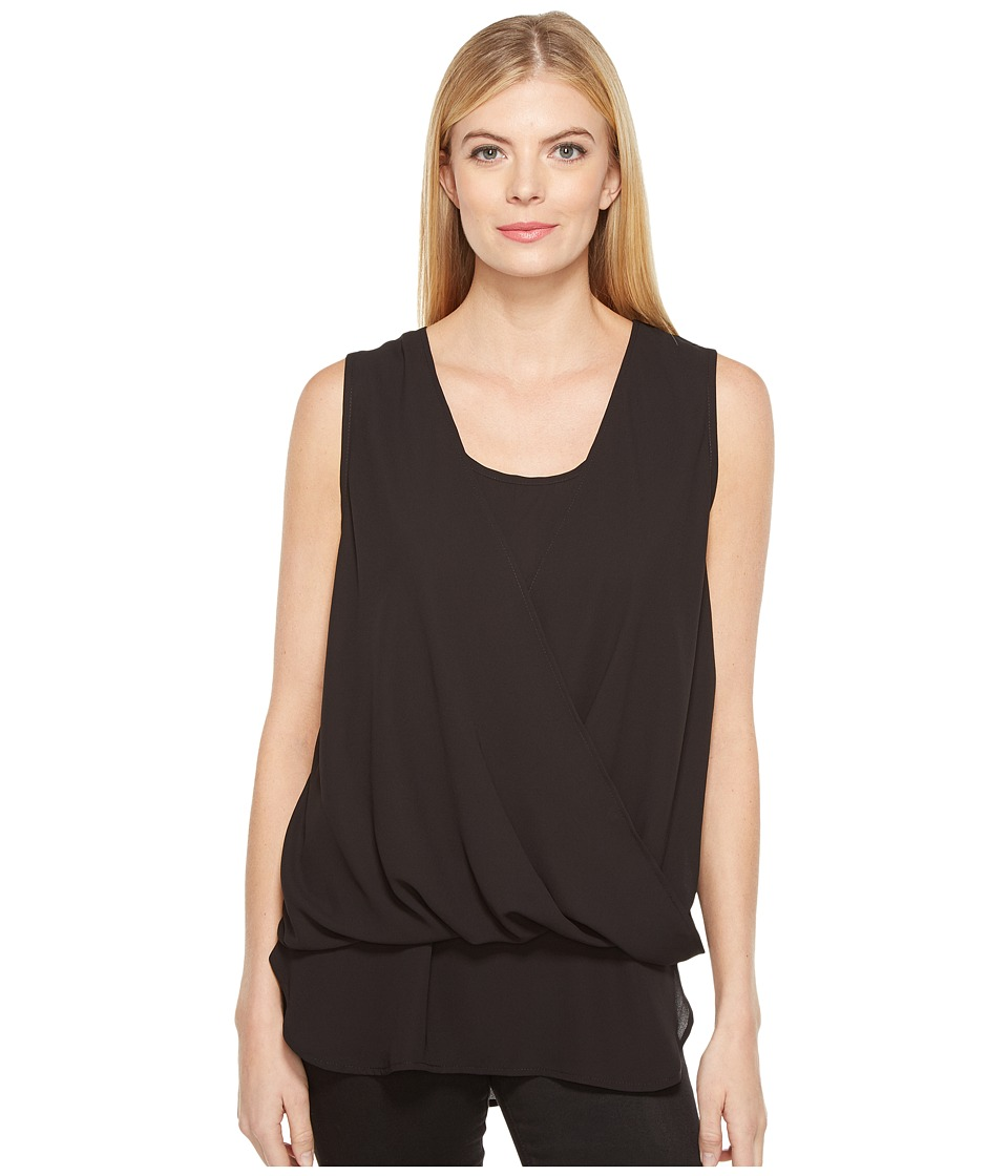 Karen Kane - Drape Front Layered Top (Black) Women's Clothing