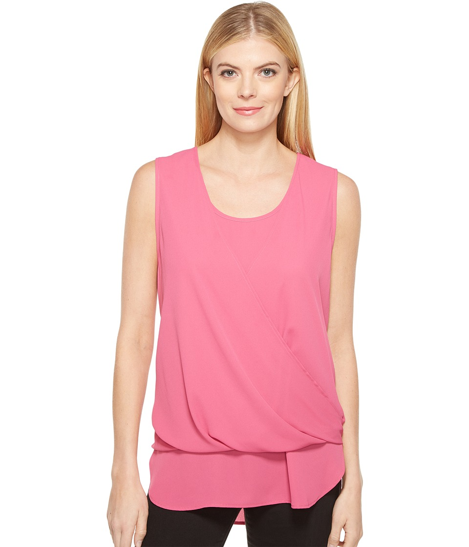 Karen Kane - Drape Front Layered Top (Pink) Women's Clothing