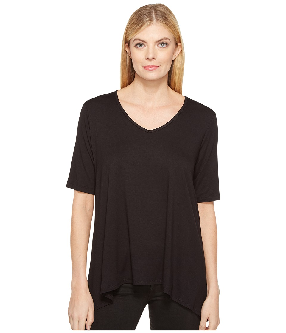 Karen Kane - Short Sleeve Swing Top (Black) Women's Clothing