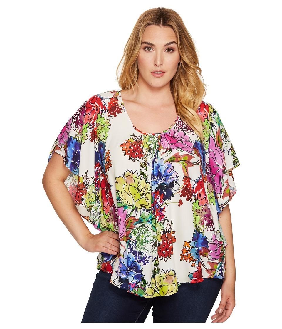 Karen Kane Plus - Plus Size Angel Top (Print) Women's Short Sleeve Pullover