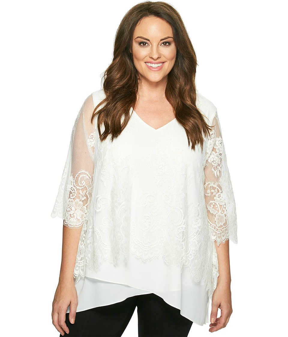 Karen Kane Plus - Plus Size Lace Overlay Asymmetric Top (Cream) Women's Short Sleeve Pullover