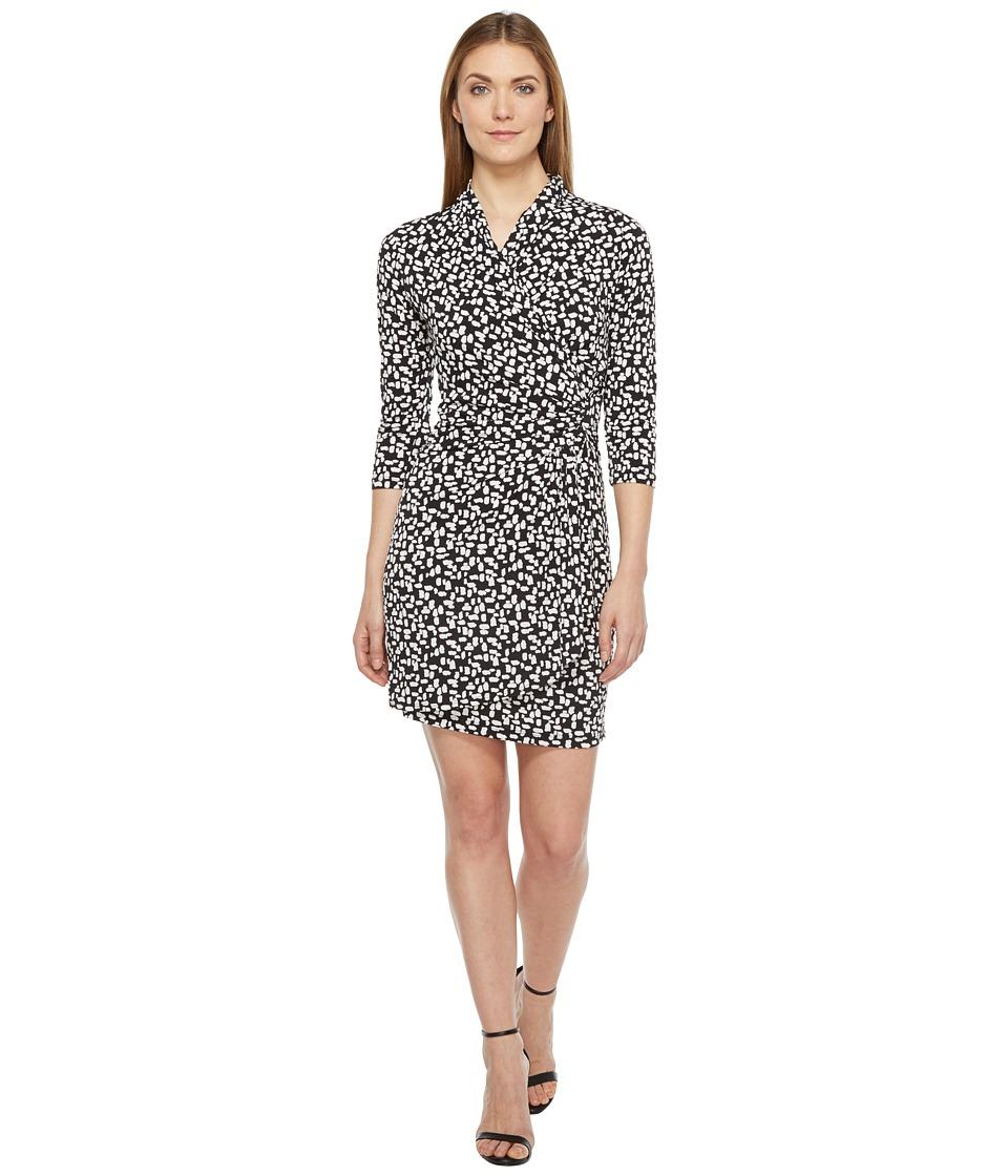 Karen Kane - 3/4 Sleeve Cascade Wrap Dress (Black) Women's Dress
