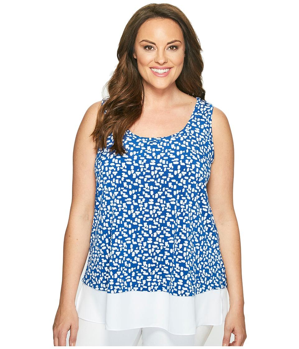 Karen Kane Plus - Plus Size Sheer Hem Tank Top (Cobalt) Women's Sleeveless