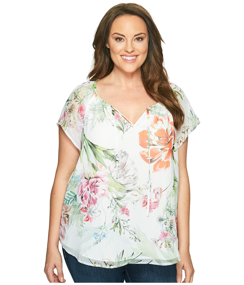 Karen Kane Plus - Plus Size Floral Keyhole Front Top (Floral) Women's Clothing
