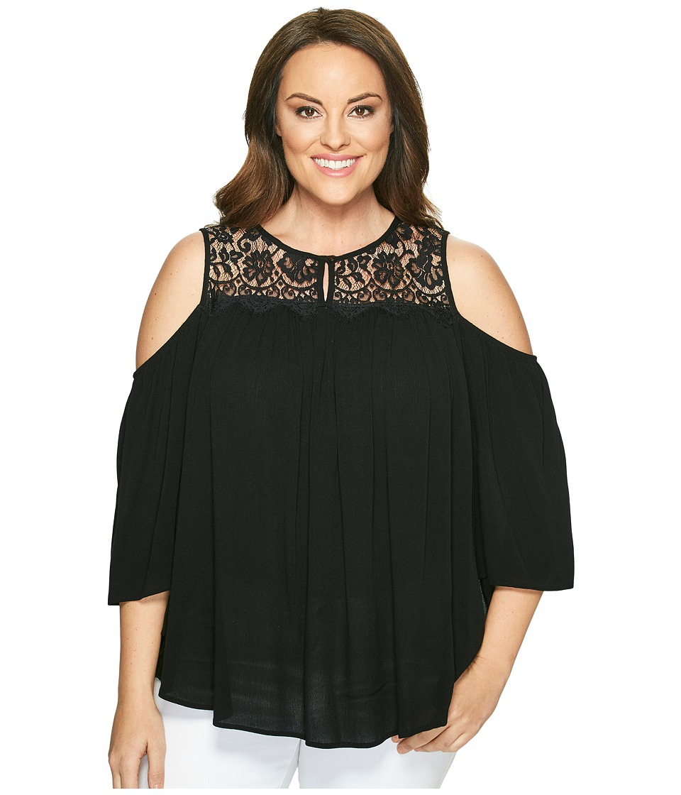 Karen Kane Plus - Plus Size Lace Yoke Cold Shoulder Top (Black) Women's Short Sleeve Pullover