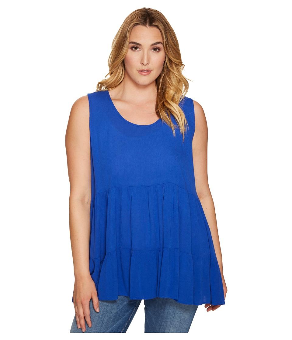 Karen Kane Plus - Plus Size Sleeveless Double Ruffle Top (Blue) Women