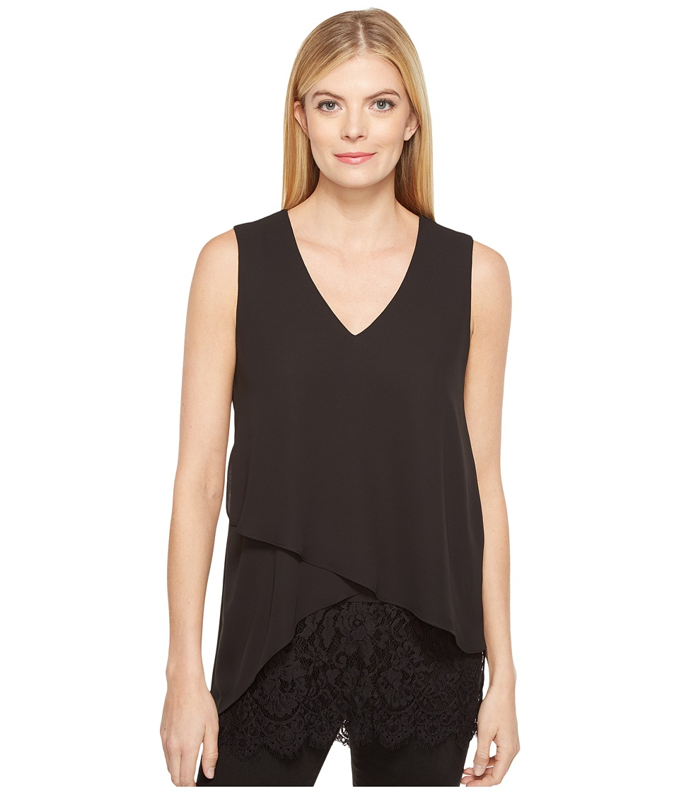 Karen Kane - Layered Lace Hem Top (Black) Women's Clothing