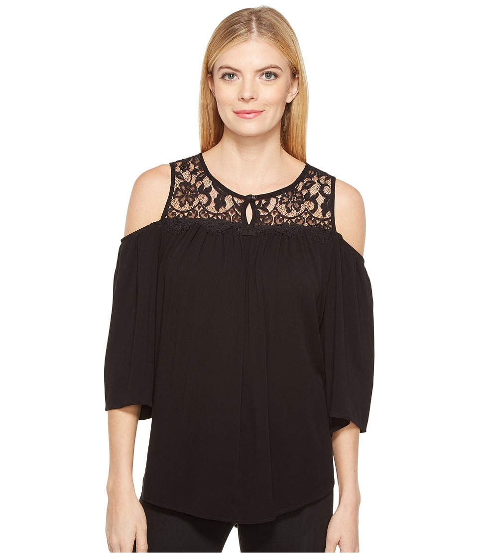 Karen Kane - Lace Yoke Cold Shoulder Top (Black) Women's Clothing