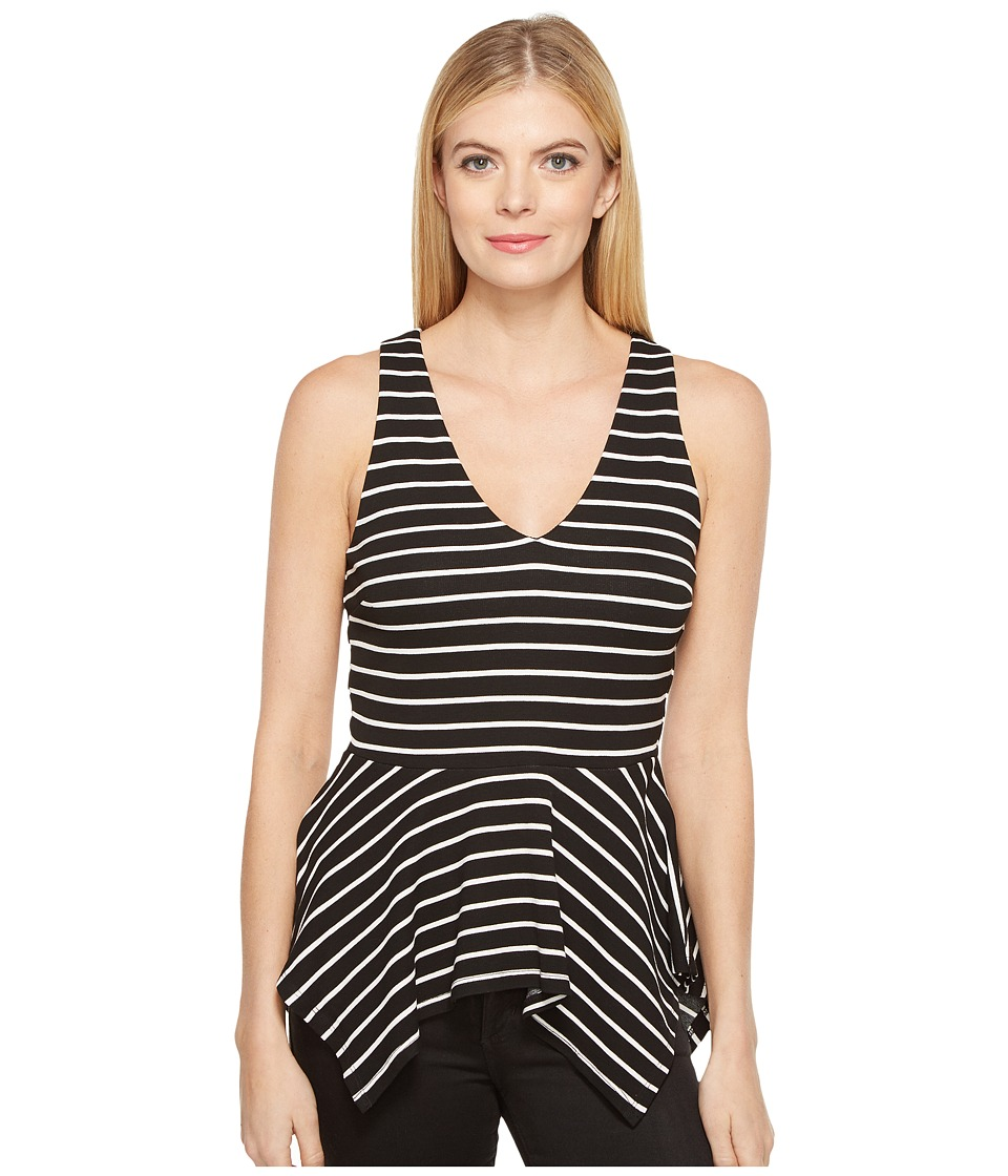 Karen Kane - V-Neck Peplum Top (Stripe) Women's Clothing