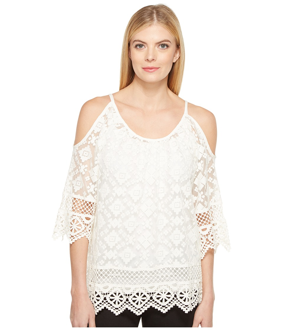 Karen Kane - Cold Shoulder Lace Top (Off-White) Women's Clothing
