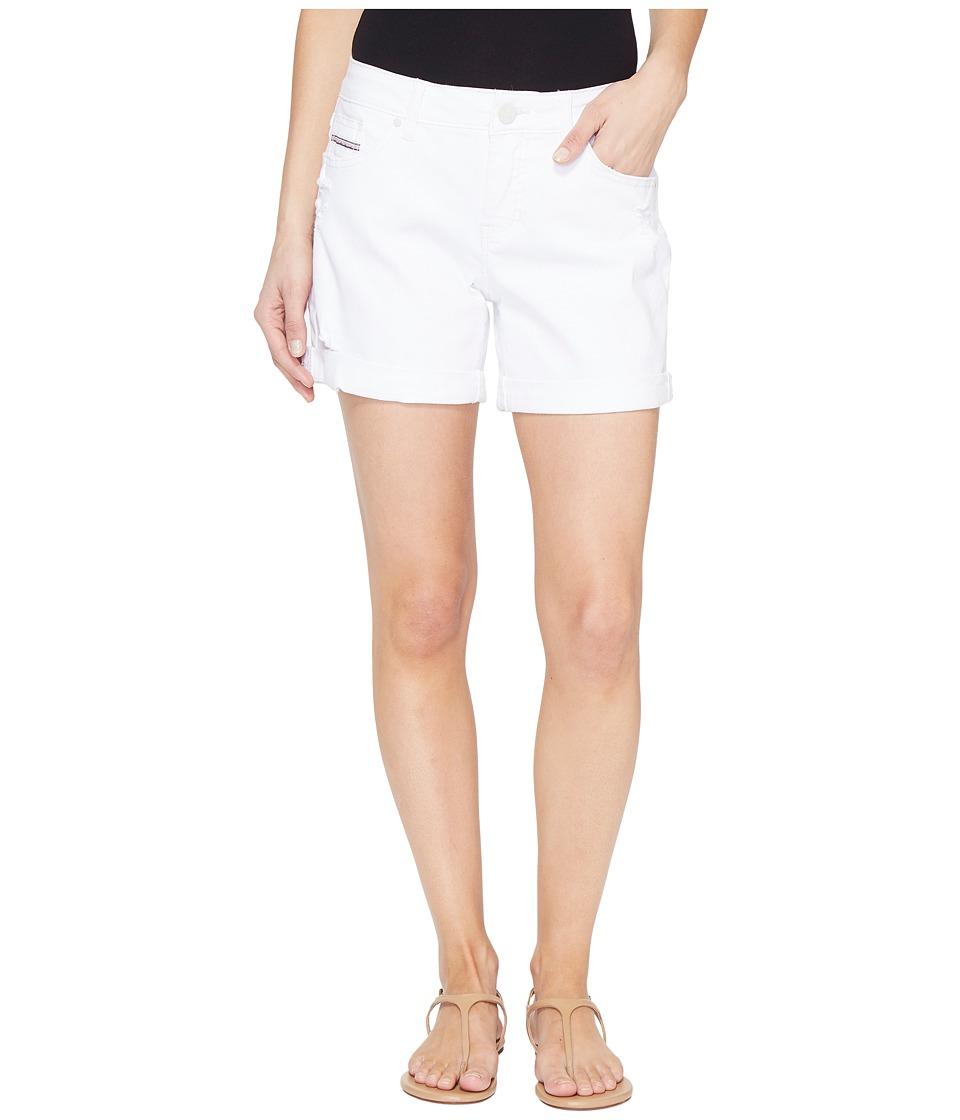 Jag Jeans - Alex Boyfriend Shorts in White Denim w/ Destruction (White) Women's Shorts