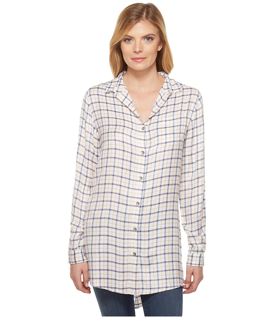 Jag Jeans - Magnolia Tunic in Rayon Plaid (Ivory Plaid) Women's Blouse