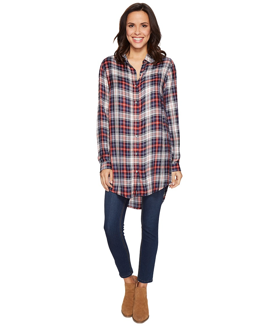 Jag Jeans - Magnolia Tunic in Rayon Plaid (Coral Plaid) Women's Blouse