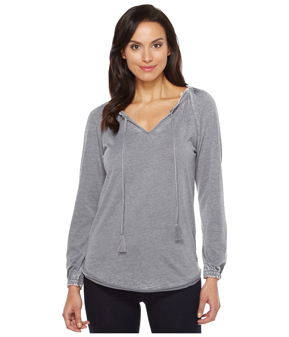 Jag Jeans Peasant Tee in Burnout Jersey (Grey Stone) Women