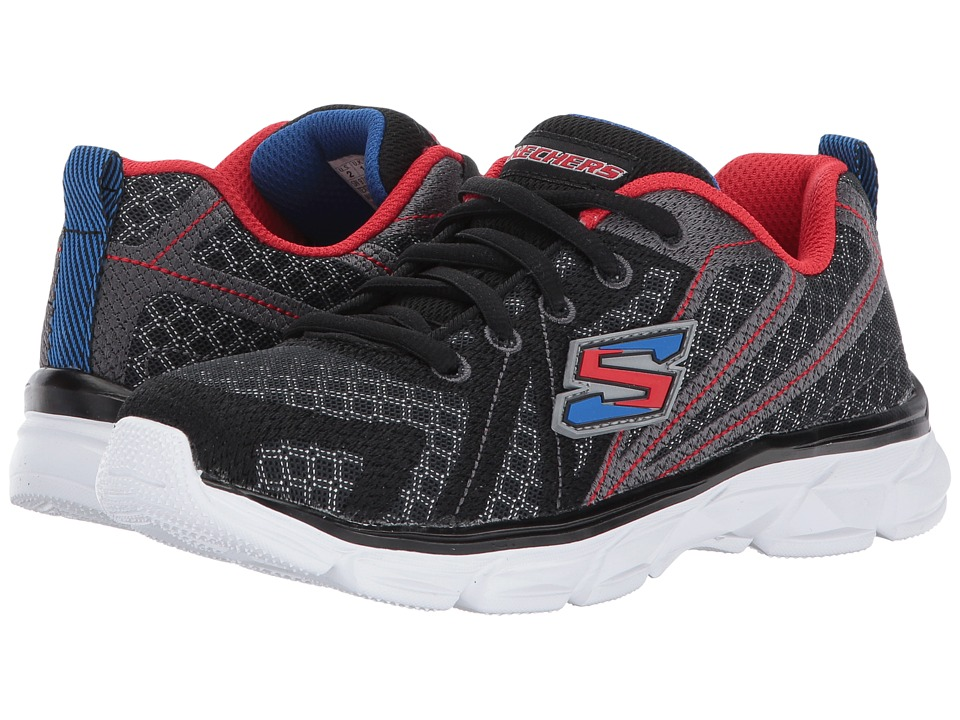 SKECHERS KIDS - Advance Lace-Up Sneaker (Little Kid/Big Kid) (Black/Red/Blue) Boy's Shoes
