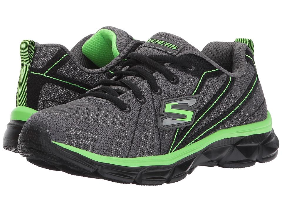 SKECHERS KIDS - Advance Lace-Up Sneaker (Little Kid/Big Kid) (Charcoal/Black/Lime) Boy's Shoes