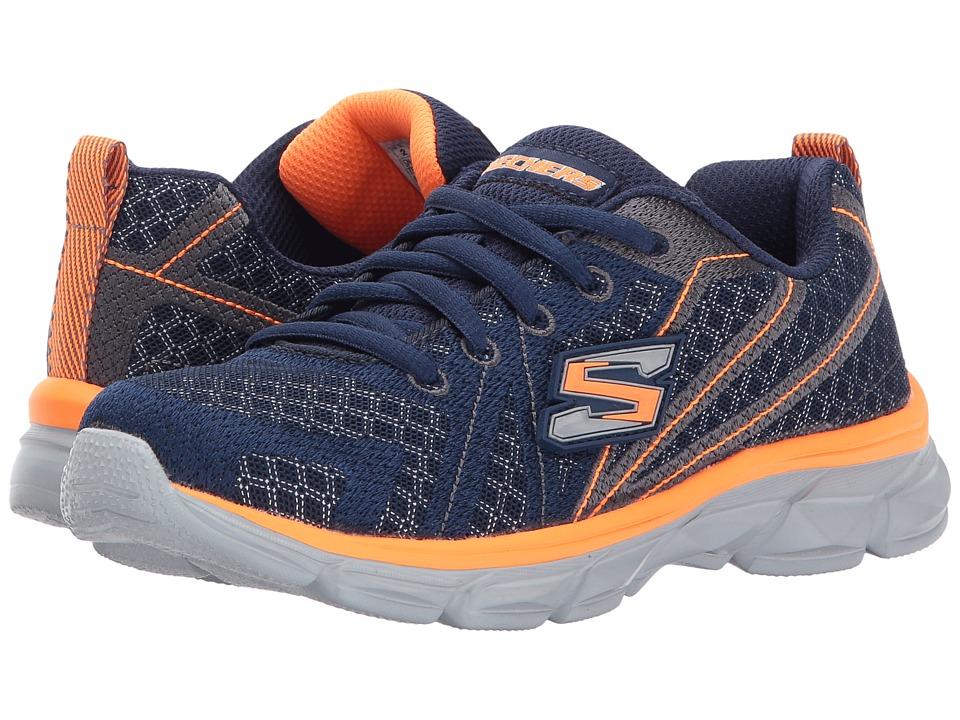 SKECHERS KIDS - Advance Lace-Up Sneaker (Little Kid/Big Kid) (Navy/Orange) Boy's Shoes