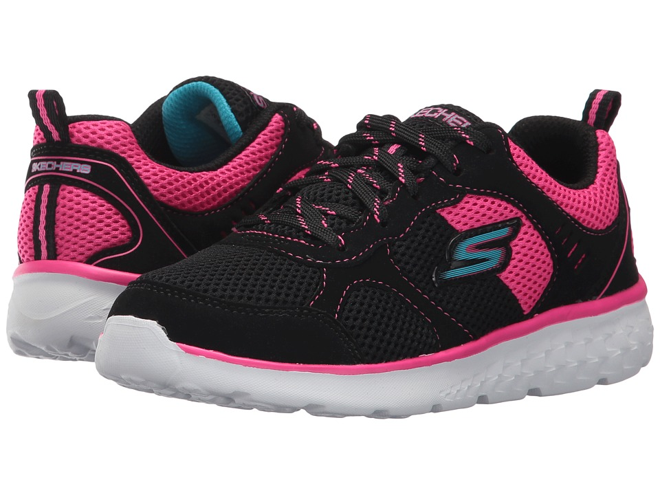 SKECHERS KIDS - Pep Kicks Lace-Up (Little Kid/Big Kid) (Black/Hot Pink) Girl's Shoes