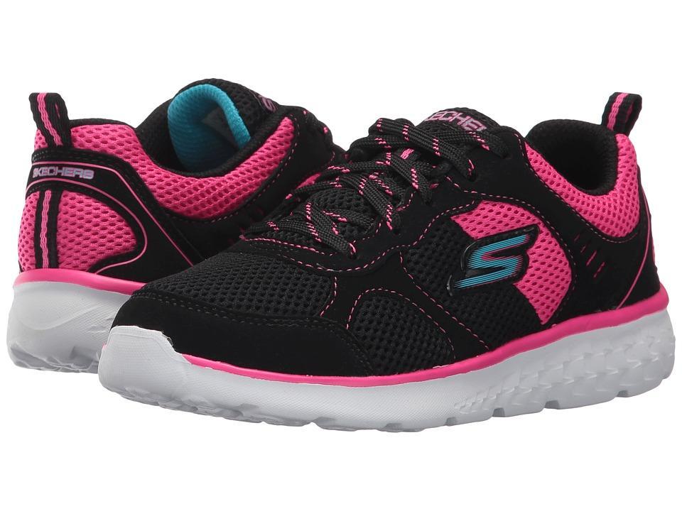 SKECHERS KIDS - Pep Kicks Lace-Up (Little Kid/Big Kid) (Black/Hot Pink) Girl's Shoes