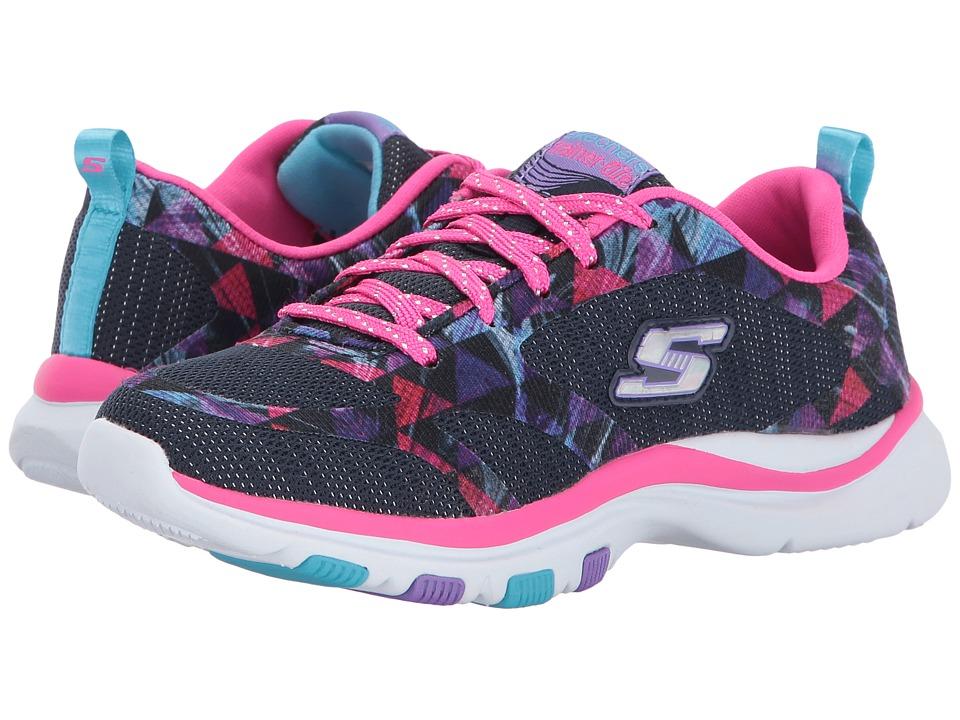 SKECHERS KIDS - Trainer Lite Lace-Up (Little Kid/Big Kid) (Navy/Hot Pink) Girl's Shoes
