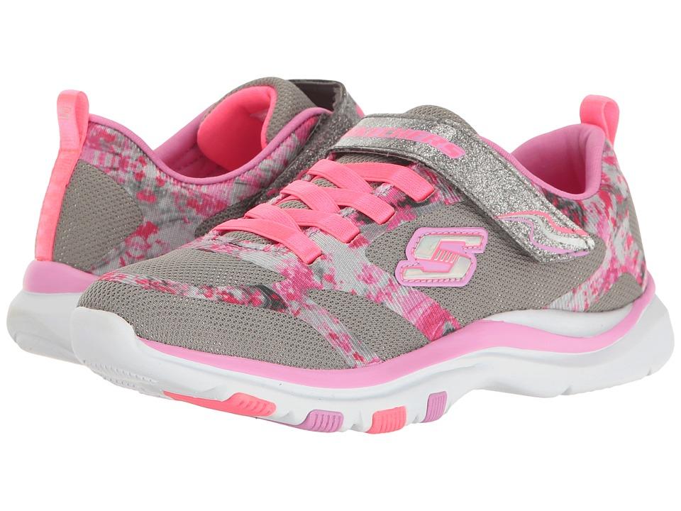 SKECHERS KIDS - Trainer Lite (Little Kid/Big Kid) (Gray/Pink) Girl's Shoes