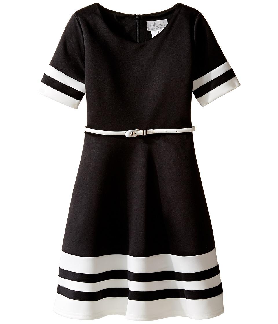 Us Angels - Scuba Short Sleeve V-Neck Fit Flare Dress (Big Kids) (Black) Girl's Dress