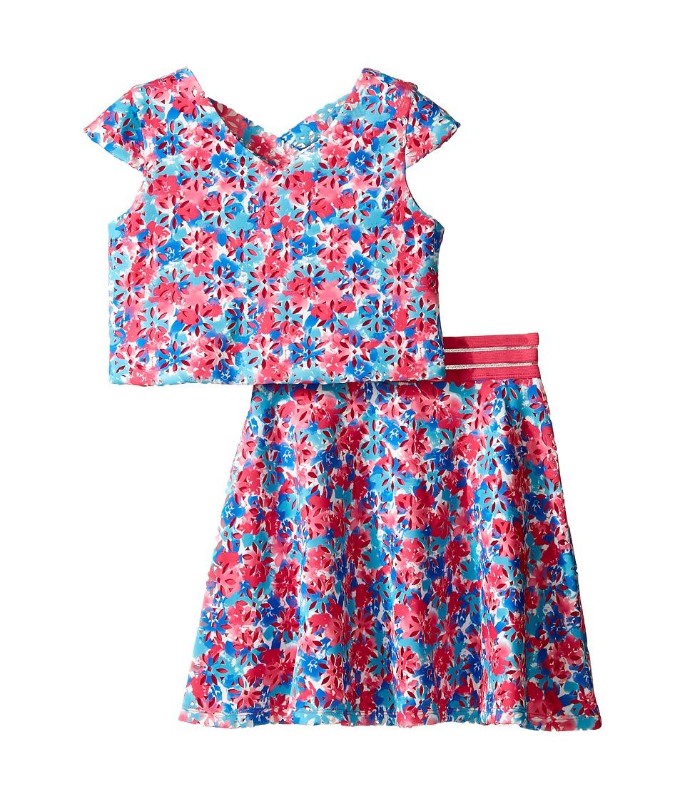 Us Angels - Laser Cut Scuba Two-Piece Cap Sleeve Cross Back w/ Flare Skirt (Big Kids) (Multi) Girl's Dress