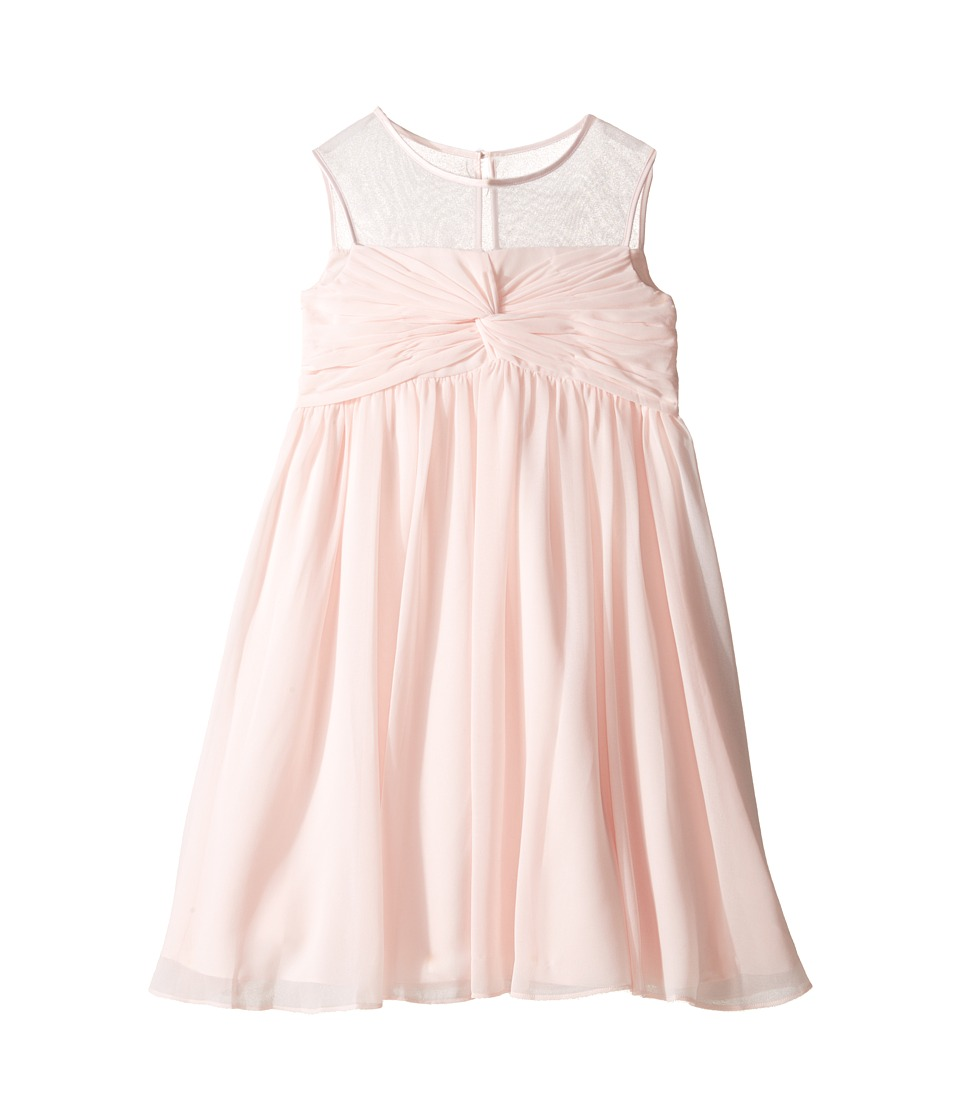 Us Angels - Sleeveless Illusion Neckline Chiffon Empire Dress (Big Kids) (Blush) Girl's Dress
