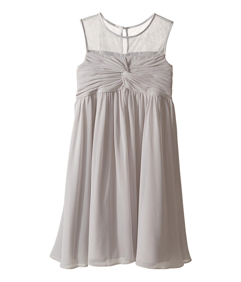 Us Angels - Sleeveless Illusion Neckline Chiffon Empire Dress (Big Kids) (Silver) Girl's Dress