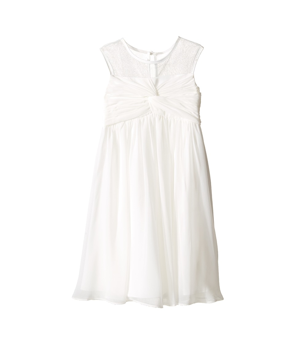 Us Angels - Sleeveless Illusion Neckline Chiffon Empire Dress (Little Kids) (Ivory) Girl's Dress