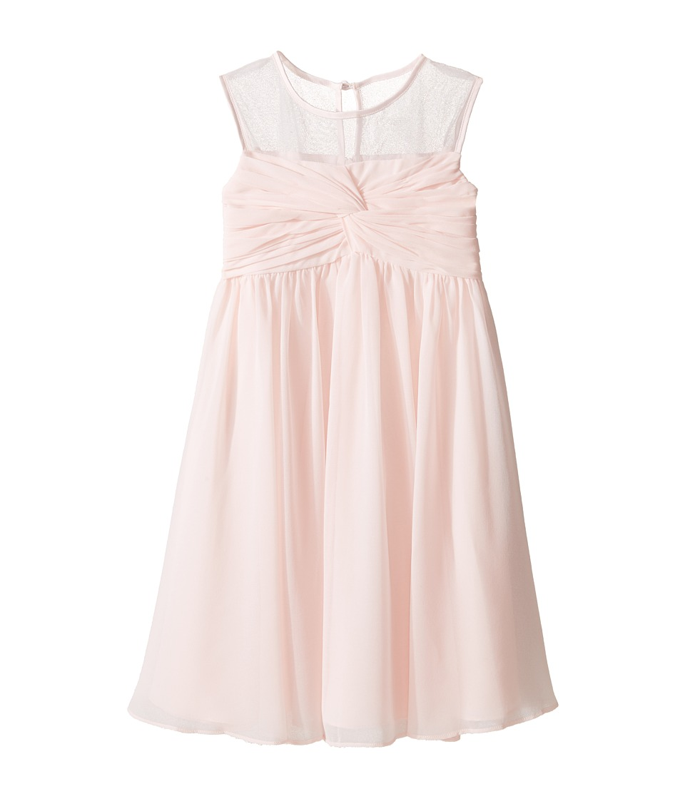 Us Angels - Sleeveless Illusion Neckline Chiffon Empire Dress (Little Kids) (Blush) Girl's Dress