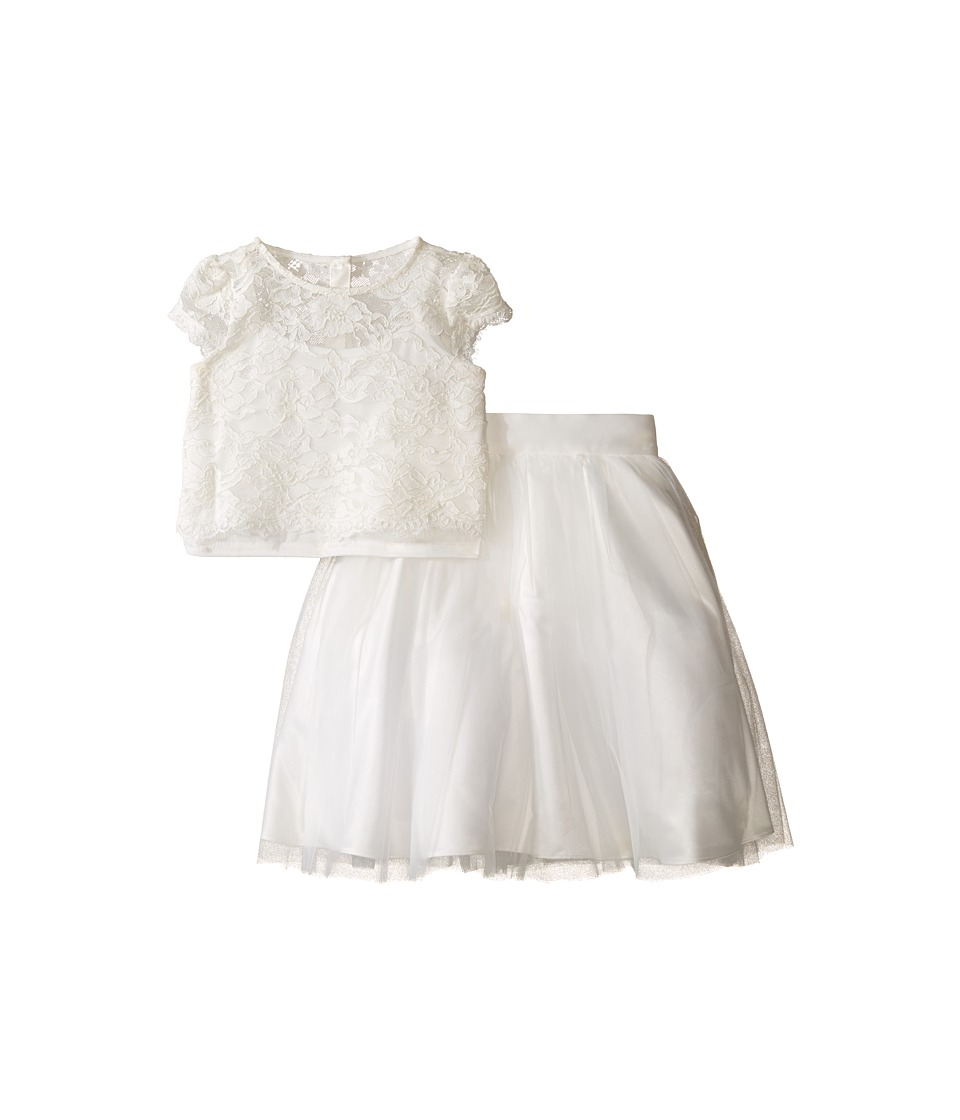 Us Angels - Satin Lace Two-Piece Popover Bolero Layered Skirt (Little Kids) (Ivory) Girl's Active Sets