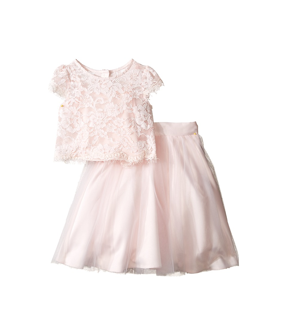 Us Angels - Satin Lace Two-Piece Popover Bolero Layered Skirt (Little Kids) (Blush) Girl's Active Sets