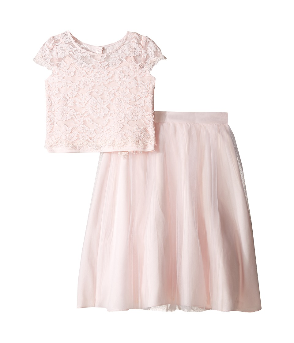 Us Angels - Satin Lace Two-Piece Popover Bolero Layered Skirt (Big Kids) (Blush) Girl's Dress