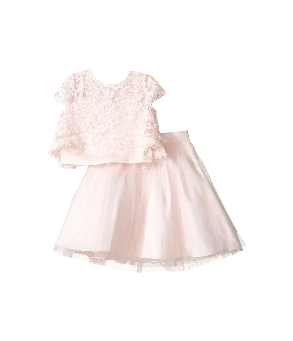 Us Angels - Satin Lace Two-Piece Popover Bolero Layered Skirt (Toddler) (Blush) Girl's Suits Sets