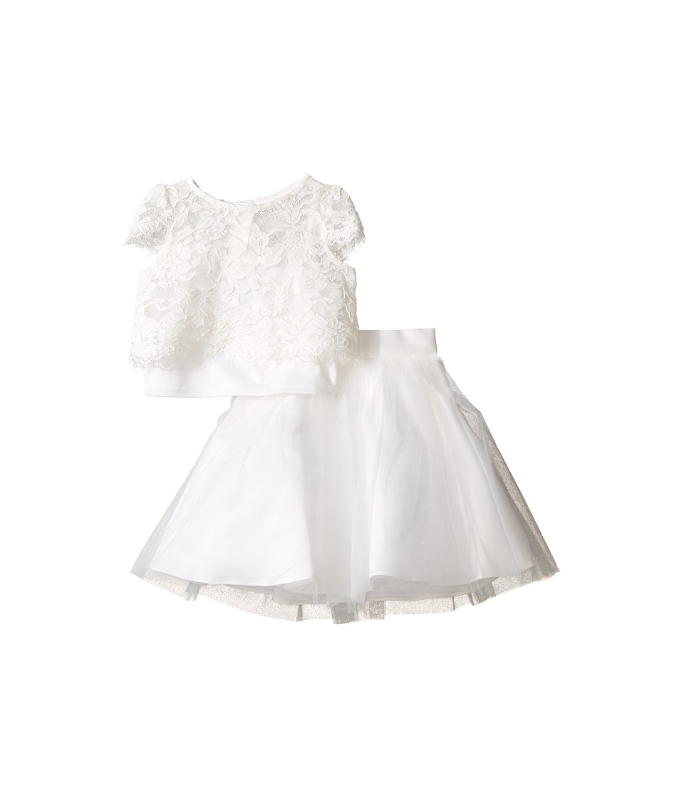 Us Angels - Satin Lace Two-Piece Popover Bolero Layered Skirt (Toddler) (Ivory) Girl's Suits Sets