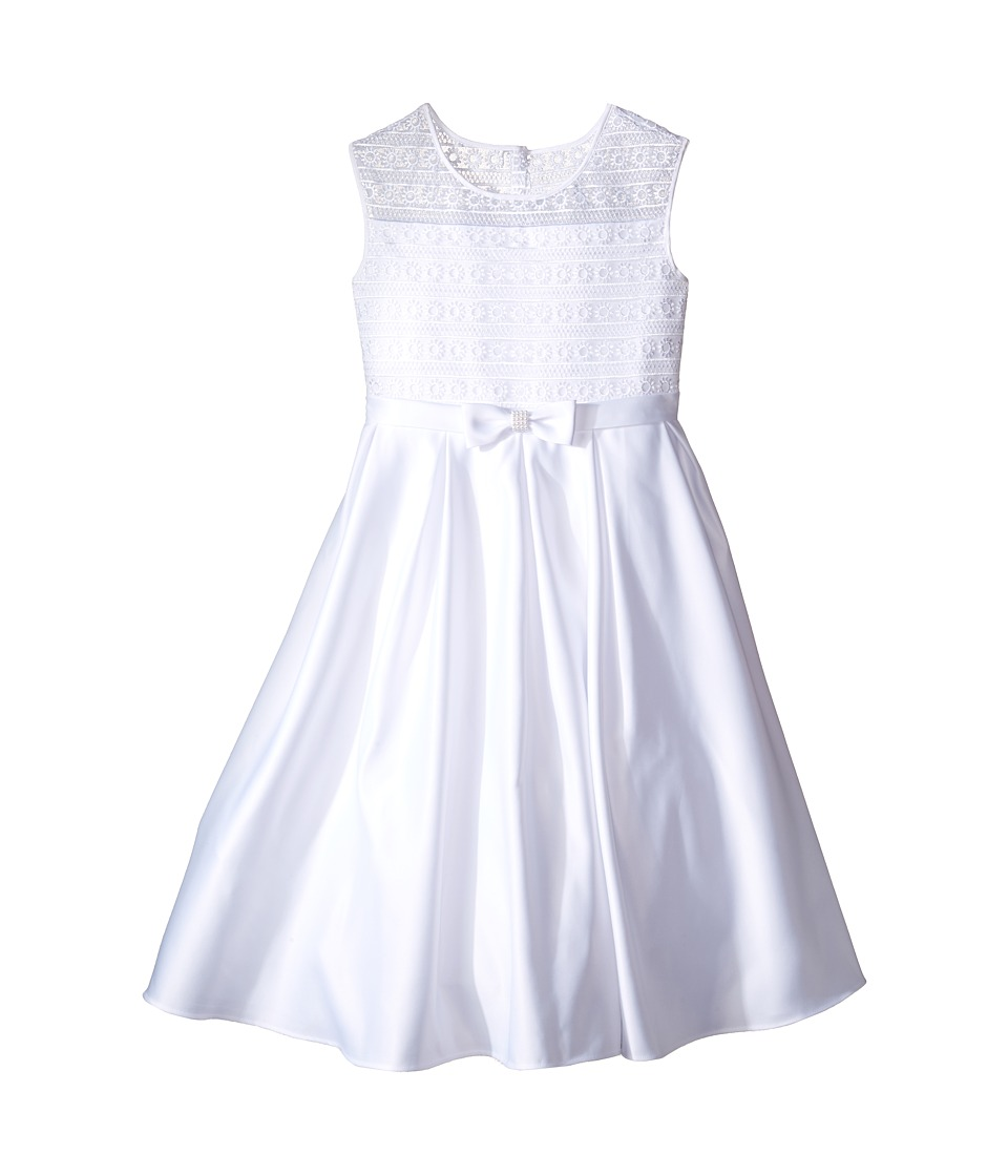 Us Angels - Organza Satin Sleeveless Dress w/ Box Pleat (Little Kids/Big Kids) (White) Girl's Dress