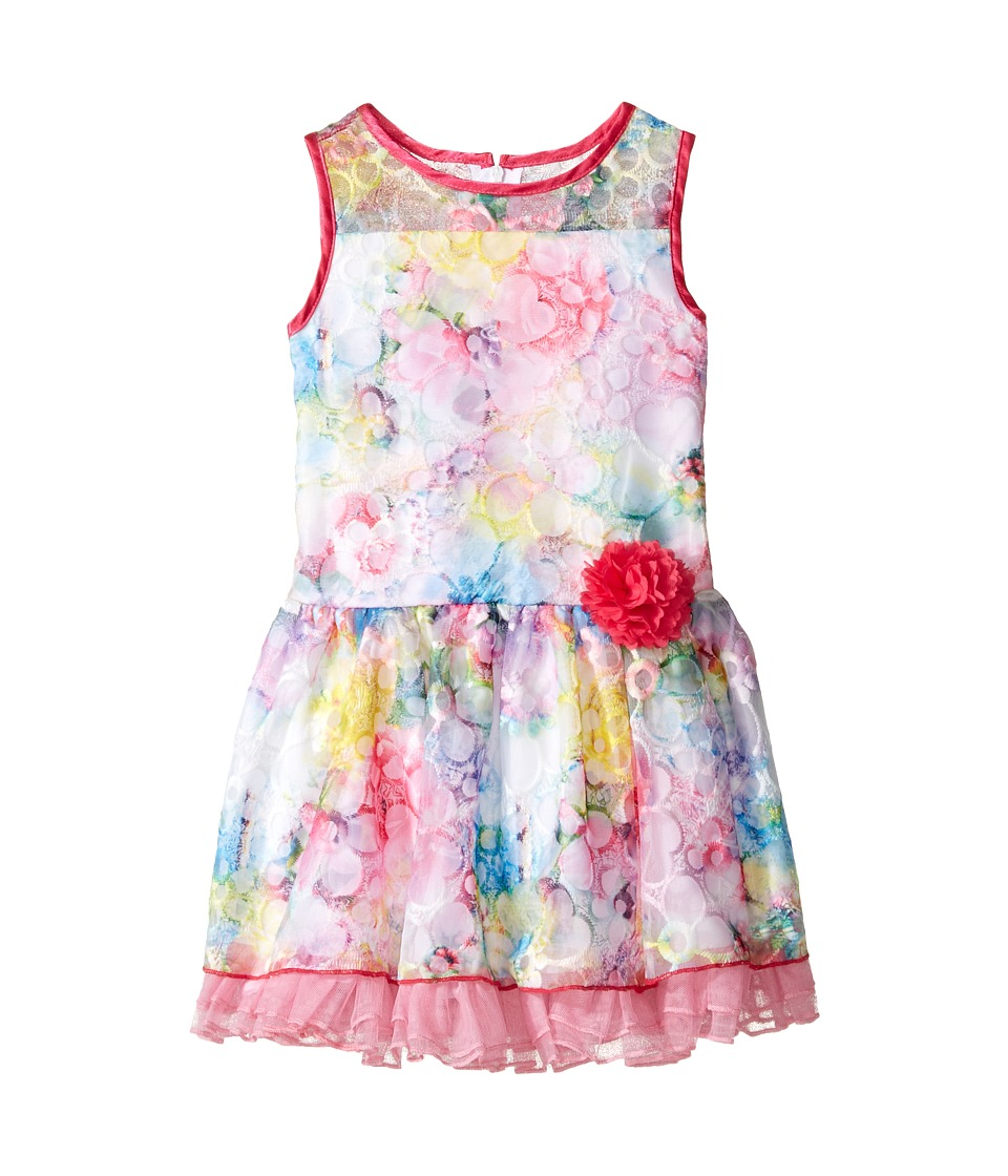 Us Angels - Sleeveless Illusion Drop Waist Lace Dress (Toddler/Little Kids) (Fuchsia) Girl's Dress